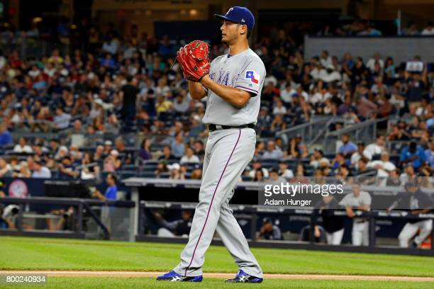 Yu Darvish of the Texas Rangers reacts against the New York Yankees during the firstsecond inning at Yankee Stadium on June 23 2017 in the Bronx...