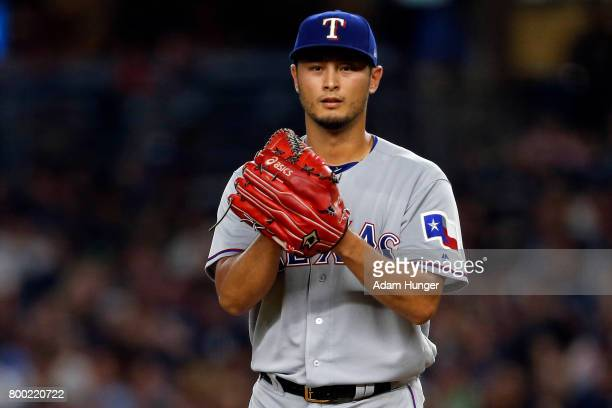 Yu Darvish of the Texas Rangers sets to pitch against the New York Yankees during the second inning at Yankee Stadium on June 23 2017 in the Bronx...