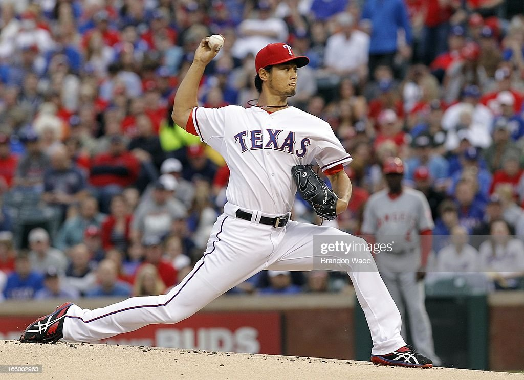 <a gi-track='captionPersonalityLinkClicked' href=/galleries/search?phrase=Yu+Darvish&family=editorial&specificpeople=4018539 ng-click='$event.stopPropagation()'>Yu Darvish</a> #11 of the Texas Rangers throws a pitch in the first inning against the Los Angeles Angels of Anaheim at Rangers Ballpark in Arlington on April 7, 2013 in Arlington, Texas.