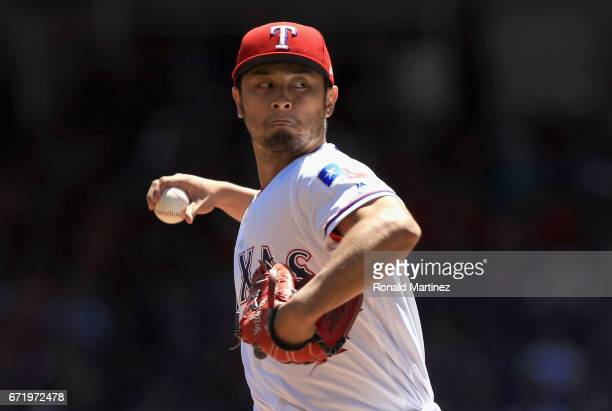 Yu Darvish of the Texas Rangers throws against the Kansas City Royals in the first inning at Globe Life Park in Arlington on April 23 2017 in...