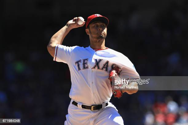 Yu Darvish of the Texas Rangers throws against the Kansas City Royals in the fourth inning at Globe Life Park in Arlington on April 23 2017 in...