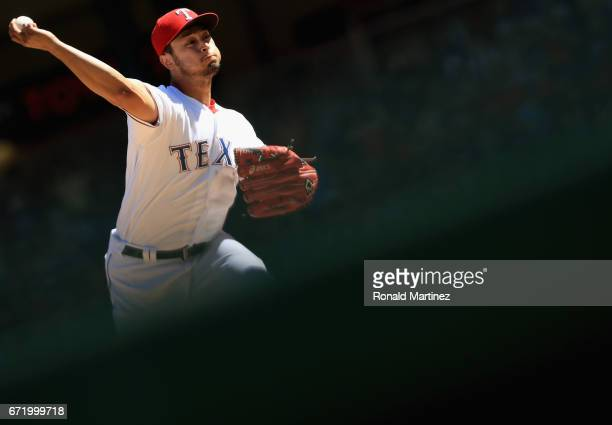 Yu Darvish of the Texas Rangers throws against the Kansas City Royals in the sixth inning at Globe Life Park in Arlington on April 23 2017 in...