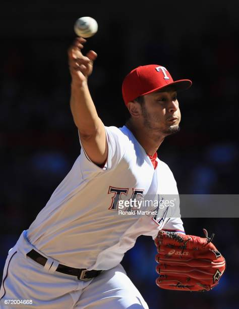 Yu Darvish of the Texas Rangers throws against the Kansas City Royals in the seventh inning at Globe Life Park in Arlington on April 23 2017 in...