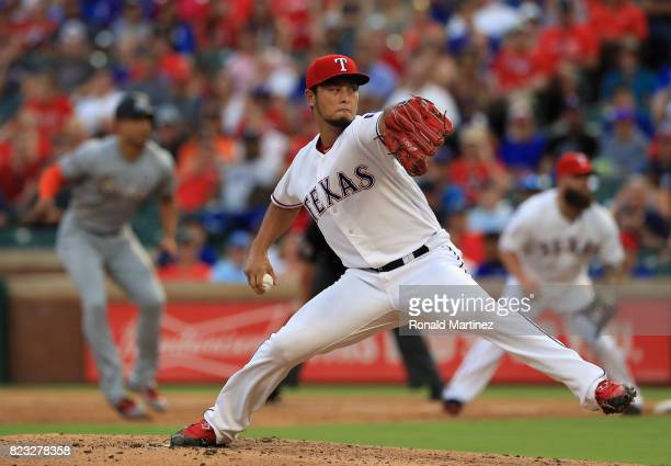 Yu Darvish of the Texas Rangers throws against the Miami Marlins in the fourth inning at Globe Life Park in Arlington on July 26 2017 in Arlington...