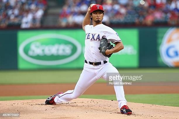 Yu Darvish of the Texas Rangers throws against the New York Yankees in the third inning at Globe Life Park in Arlington on July 28 2014 in Arlington...
