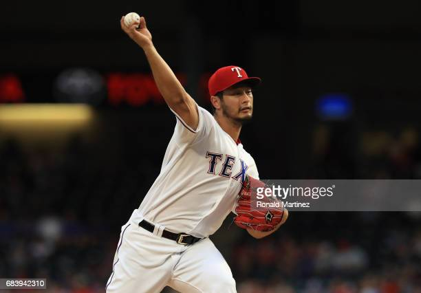 Yu Darvish of the Texas Rangers throws against the Philadelphia Phillies in the second inning at Globe Life Park in Arlington on May 16 2017 in...