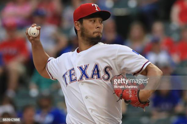Yu Darvish of the Texas Rangers throws against the Philadelphia Phillies in the first inning at Globe Life Park in Arlington on May 16 2017 in...