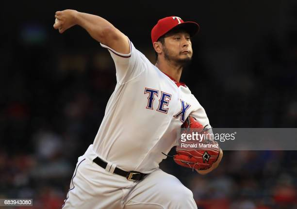 Yu Darvish of the Texas Rangers throws against the Philadelphia Phillies in the third inning at Globe Life Park in Arlington on May 16 2017 in...