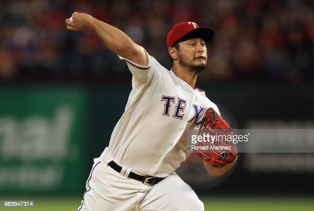 Yu Darvish of the Texas Rangers throws against the Philadelphia Phillies in the fifth inning at Globe Life Park in Arlington on May 16 2017 in...
