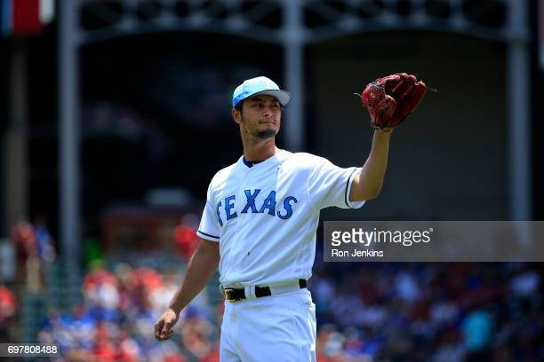 Yu Darvish of the Texas Rangers waits for a throw as the Rangers play the Seattle Mariners during the first inning at Globe Life Park in Arlington on...