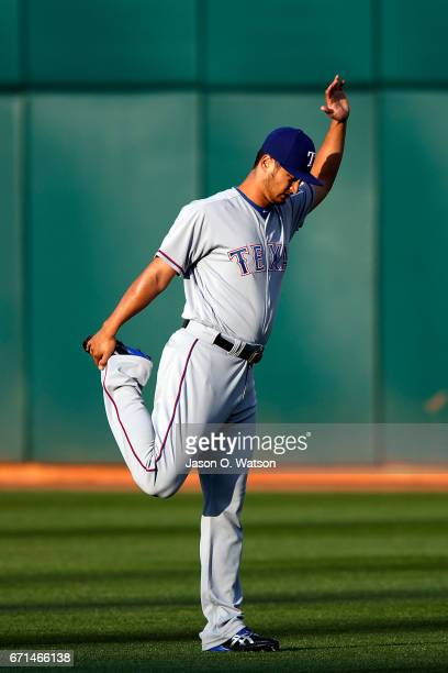 Yu Darvish of the Texas Rangers warms up before the game against the Oakland Athletics at the Oakland Coliseum on April 18 2017 in Oakland California...