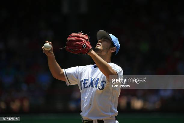 Yu Darvish of the Texas Rangers warms up before the Rangers take on the Seattle Mariners at Globe Life Park in Arlington on June 18 2017 in Arlington...