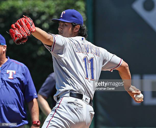 Yu Darvish of the Texas Rangers warms up in the bullpen before pitching against the Chicago Cubs at Wrigley Field on July 16 2016 in Chicago Illinois