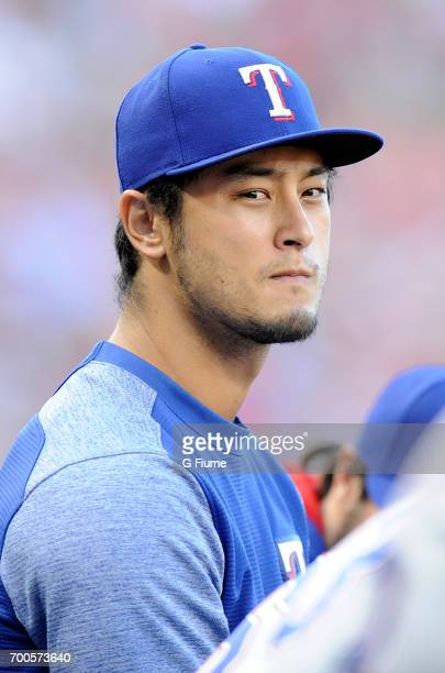 Yu Darvish of the Texas Rangers watches the game in the second inning against the Washington Nationals at Nationals Park on June 9 2017 in Washington...