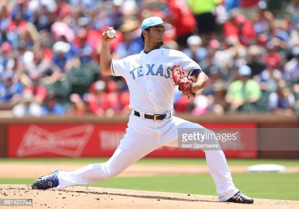 Yu Darvish pitches in the game between the Seattle Mariners and the Texas Rangers on June 18th 2017 at Globe Life Park in Arlington Tx