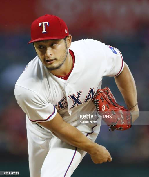 Yu Darvish pitches in the Texas Rangers' 51 win over the Philadelphia Phillies at Globe Life Park in Arlington Texas on May 16 2017 Darvish held the...