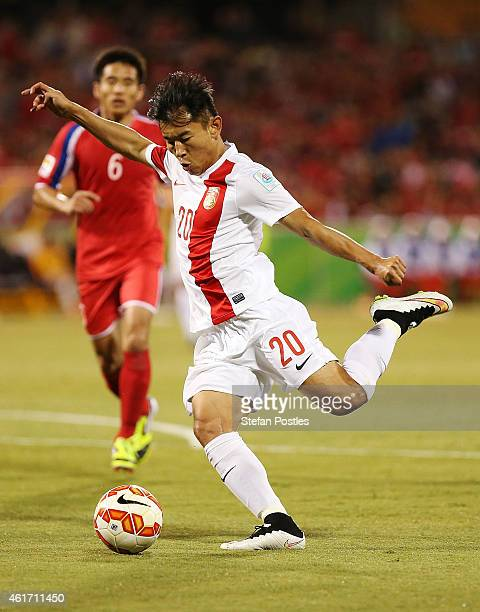 Yu Hanchao of China in action during the 2015 Asian Cup match between China PR and DPR Korea at Canberra Stadium on January 18 2015 in Canberra...