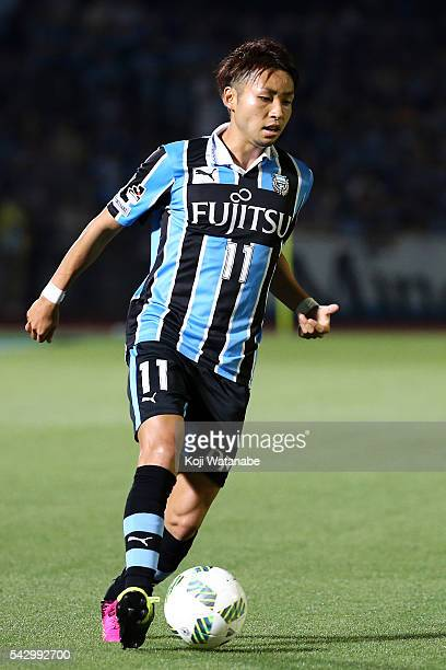Yu Kobayashi Kawasaki Frontale in action during the JLeague match between Kawasaki Frontale and Omiya Ardija at the Kawasaki Todoroki Stadium on June...