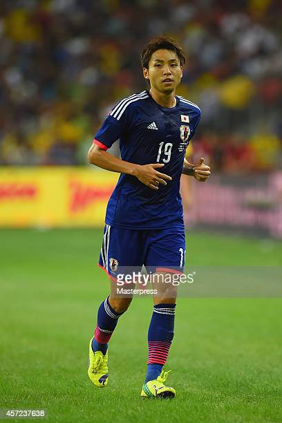 Yu Kobayashi of Japan in action during the international friendly match between Japan and Brazil at the National Stadium on October 14 2014 in...