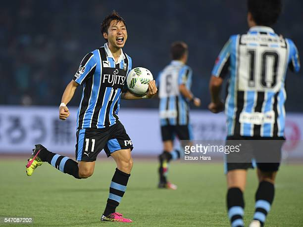 Yu Kobayashi of Kawasaki Frontale celebrates after Albirex Niigata scores an own goal during the JLeague match between Kawasaki Frontale and Albirex...