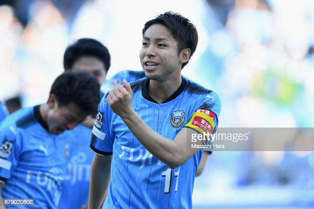 Yu Kobayashi of Kawasaki Frontale celebrates scoring his side's second goal during the JLeague J1 match between Kawasaki Frontale and Albirex Niigata...