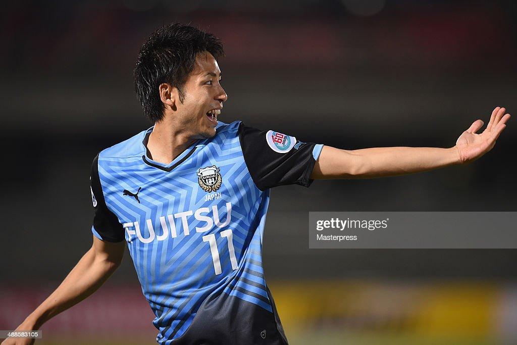 Yu Kobayashi of Kawasaki Frontale celebrates scoring his team's first goal during the AFC Champions League Round of 16 match between Kawasaki Frontale and FC Seoul at Todoroki Stadium on May 7, 2014 in Kawasaki, Kanagawa, Japan.