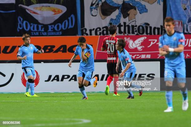 Yu Kobayashi of Kawasaki Frontale celebrates scoring the opening goal from the penalty spot during the JLeague J1 match between Consadole Sapporo and...