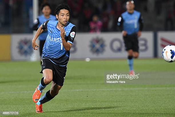Yu Kobayashi of Kawasaki Frontale in action during the AFC Champions League Round of 16 match between Kawasaki Frontale and FC Seoul at Todoroki...