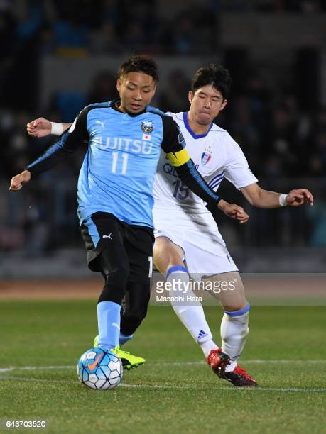 Yu Kobayashi of Kawasaki Frontale in action during the AFC Champions League Group G match between Kawasaki Frontale and Suwon Samsung Bluewings at...