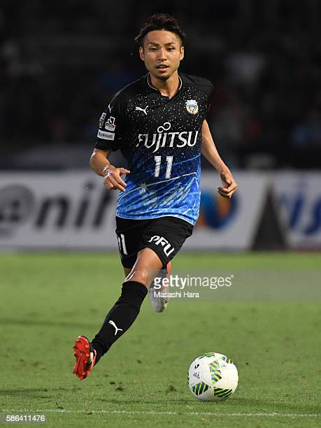 Yu Kobayashi of Kawasaki Frontale in action during the JLeague match between Kawasaki Frontale and Ventforet Kofu at the Todoroki Stadium on August 6...