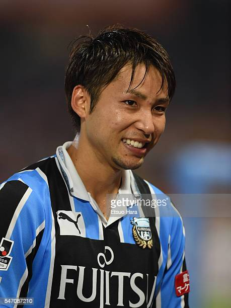 Yu Kobayashi of Kawasaki Frontale looks on after the JLeague match between Kawasaki Frontale and Albirex Niigata at the Todoroki Stadium on July 13...