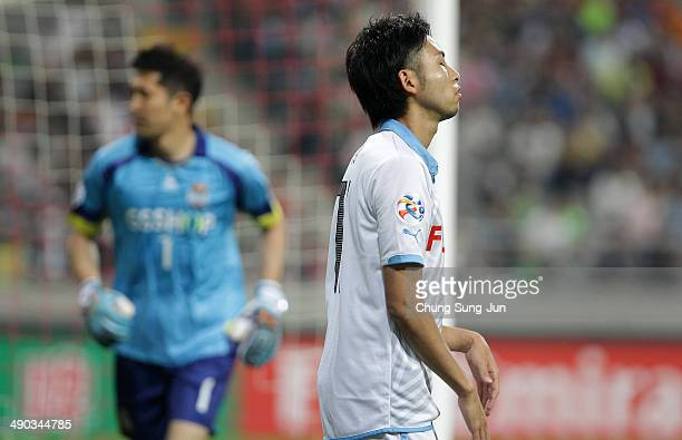 Yu Kobayashi of Kawasaki Frontale reacts during the AFC Champions League Round of 16 match between FC Seoul and Kawasaki Frontale at Seoul World Cup...