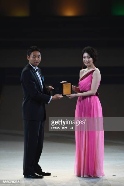 Yu Kobayashi of Kawasaki Frontale receives the Top Scorer Award during the 2017 JLeague Awards at Yokohama Arena on December 5 2017 in Yokohama...