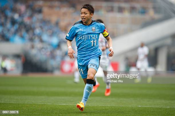 Yu Kobayashi of Kawasaki Frontale runs during the JLeague J1 match between Kawasaki Frontale and Ventforet Kofu at Todoroki Stadium on April 8 2017...