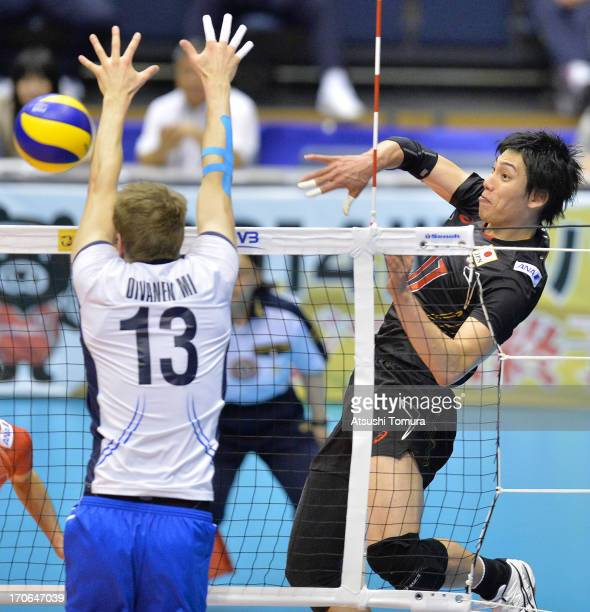 Yu Koshikawa of Japan in action during the FIVB World League Pool C match between Japan and Finland at Komaki Park Arena on June 16 2013 in Komaki...