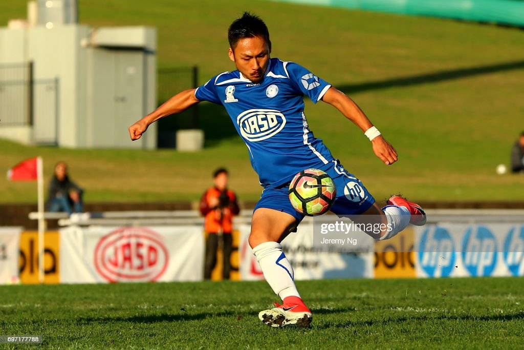 Yu Kuboki of Olympic FC shoots at goal during the NSW NPL Men's match between Sydney Olympic FC and Parramatta FC on June 18, 2017 in Sydney, Australia.