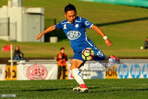 Yu Kuboki of Olympic FC shoots at goal during the NSW NPL Men's match between Sydney Olympic FC and Parramatta FC on June 18 2017 in Sydney Australia