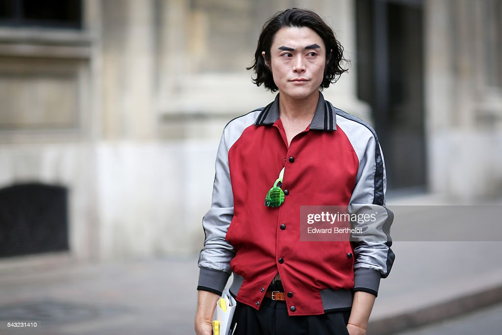 Yu Masui is seen, before the Paul Smith show, during Paris Fashion Week Menswear Spring/summer 2017, on June 26, 2016 in Paris, France.
