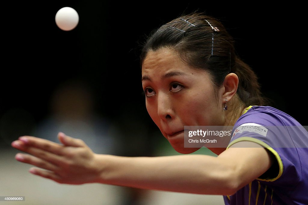 Yu Mengyu of Singapore serves against Lee I-Chen of Taipei during their Women's Singles match on day two of 2014 ITTF World Tour Japan Open at Yokohama Cultural Gymnasium on June 21, 2014 in Yokohama, Japan.