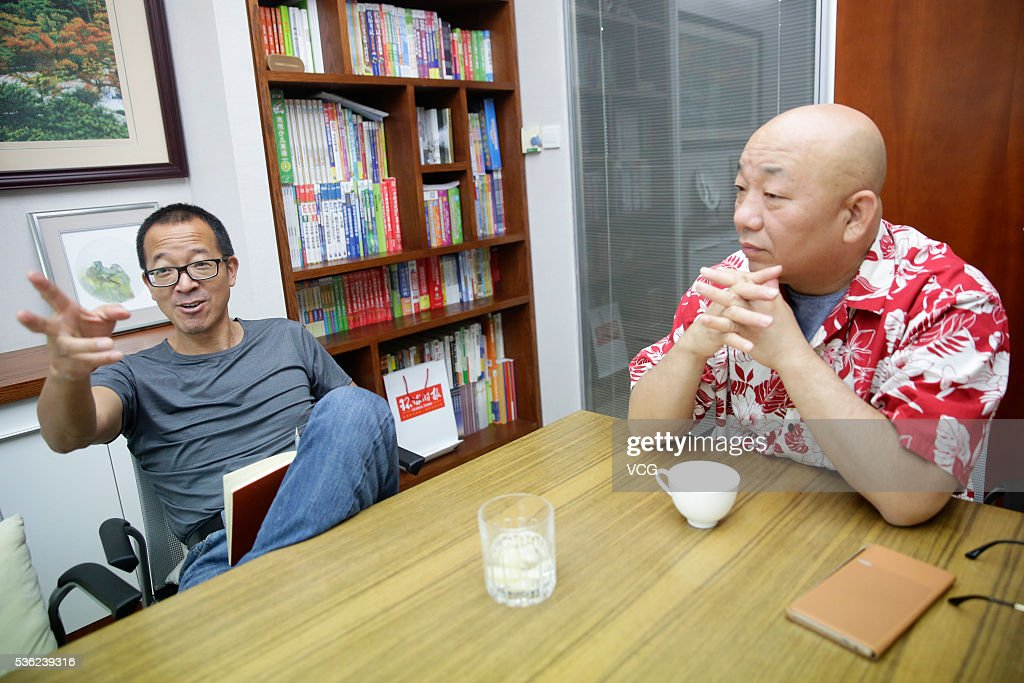 Yu Minhong (L), founder and president of New Oriental Education & Technology Group, meets talk show star Brother Sway on May 31, 2016 in Beijing, China.
