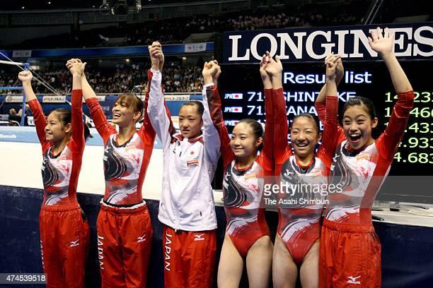 Yu Minobe Rie Tanaka Yuumi Iizuka Koko Tsurumi Asuka Teramoto and Yuko Shintake of Japan Women's team celebrate qualifying for the London Olympic...