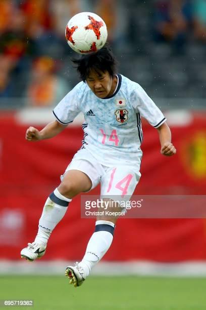 Yu Nakasato does a header during the Women's International Friendly match between Belgium and Japan at Stadium Den Dreef on June 13 2017 in Leuven...