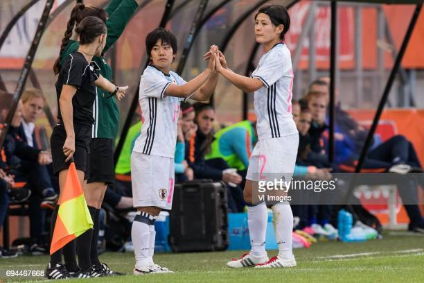 Yu Nakasato of Japan Naomoto Hikaru of Japanduring the friendly match between the women of The Netherlands and Japan at the Rat Verlegh stadium on...