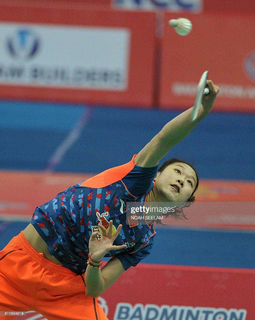 Yu Sun of China plays against Sayaka Sato of Japan during their