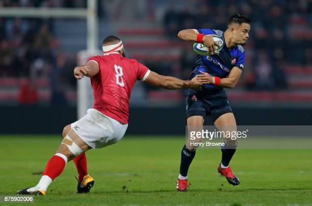 Yu Tamura of Japan and MaÕama Vaipulu of Tonga during the international match between Japan and Tonga at Stade Ernest Wallon on November 18 2017 in...