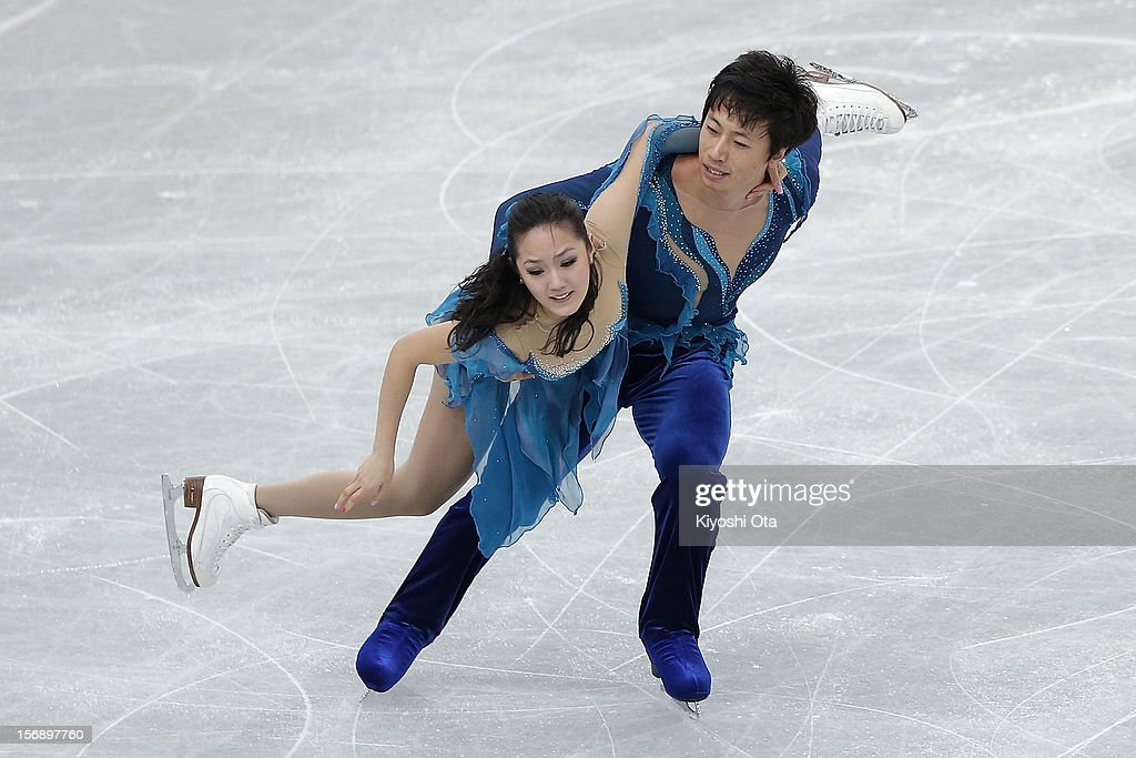 Yu Xiaoyang and Wang Chen of China compete in the Ice Dance Free Dance during day two of the ISU Grand Prix of Figure Skating NHK Trophy at Sekisui Heim Super Arena on November 24, 2012 in Rifu, Japan.