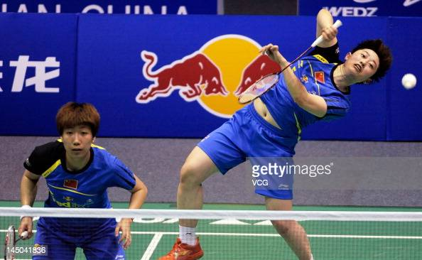 Yu Yang and Wang Xiaoli of China compete against Carla Nelte and Isabel Herttrich of Germany in the quarterfinal match during the Ube Cup world...