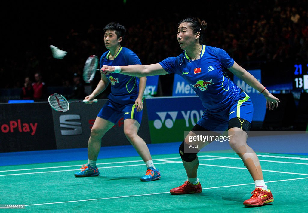Yu Yang and Wang Xiaoli of China compete against Tian Qing and Zhao Yunli of China during day six of YONEX All England Open Badminton Championships...