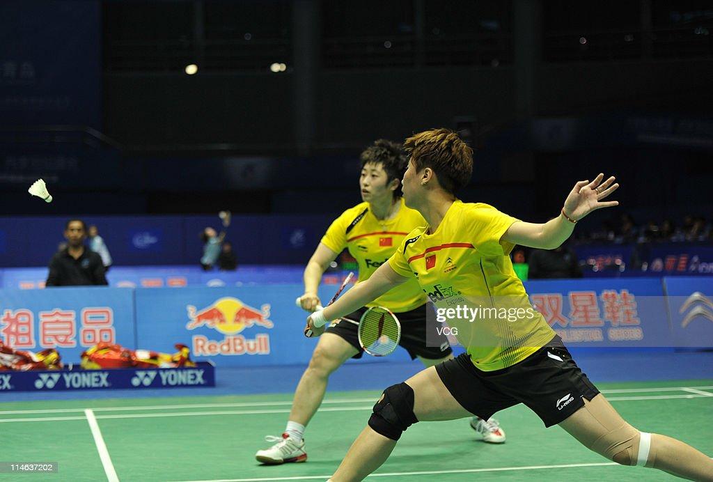 Yu Yang and Wang Xiaoli of China in action against Mami Naito and Shizuka Matsuo of Japan during day three of the 12th Sudirman Cup at Qingdao Sports...