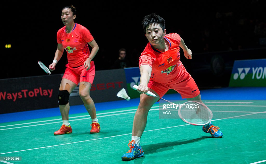 Yu Yang and Wang Xiaoli of China in action during the Women's Doubles match against Luo Ying and Luo Yu of China on day four of YONEX All England...